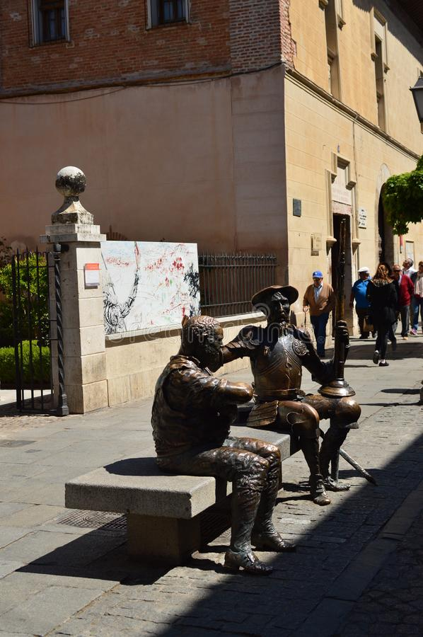 Beautiful Statue Of Don Quixote And Sancho Panza Debating. Architecture Travel History. May 5, 2018. Alcala De Henares Madrid Spain stock photography