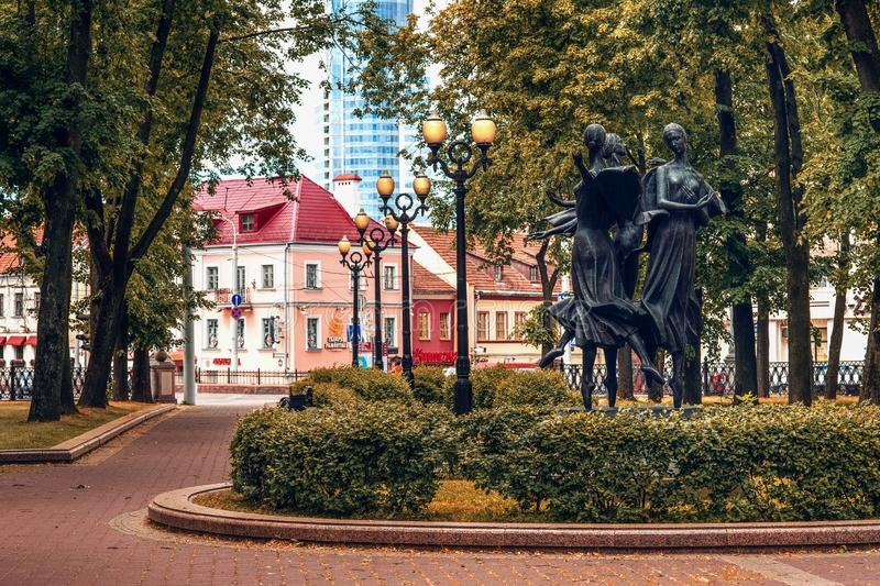 Minsk, Belarus, Theatre Square close to the National Opera and Ballet Theatre. Beautiful statue in public park in Minsk, Belarus stock image
