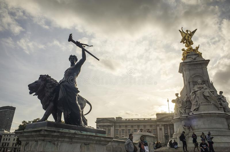 Beautiful statues outside Buckingham Palace London Great Britain royalty free stock images