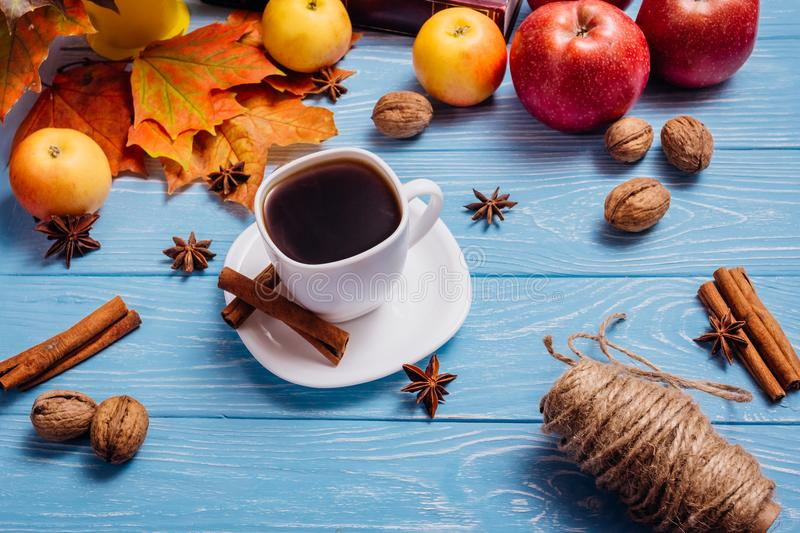 Beautiful still life with coffee in a white cup on a white woode royalty free stock images