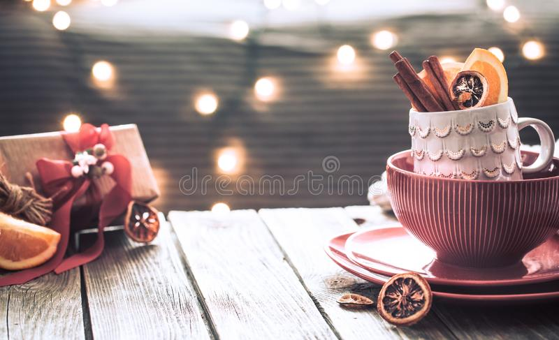 Beautiful still life with home Christmas decor stock image