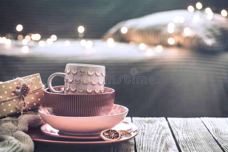 Beautiful still life with home Christmas decor stock images