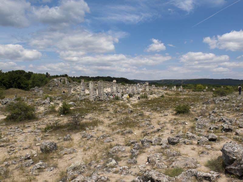Beautiful stone pillars of unknown origin stock photo
