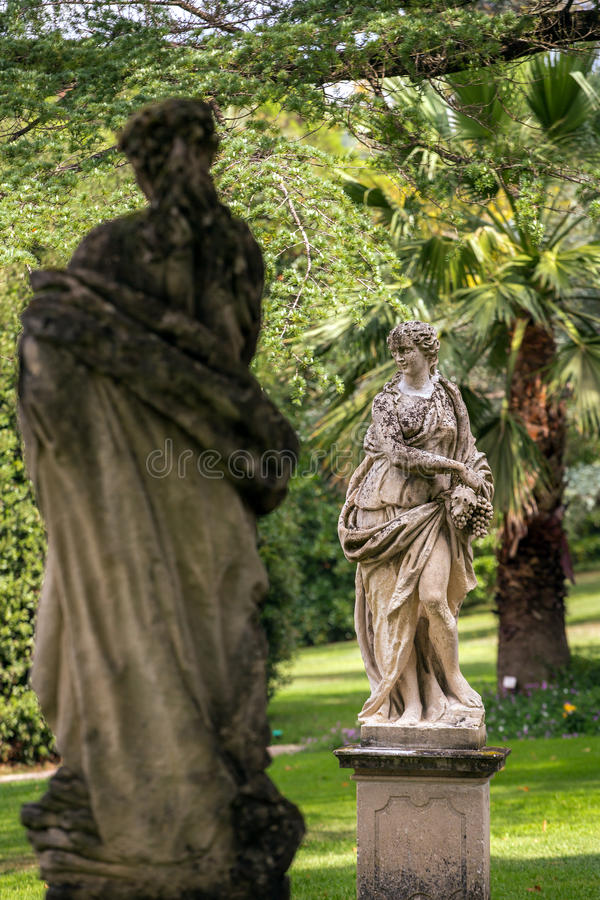 Beautiful stone sculptures in park of Tettuccio Terme Spa. In Montecatini Terme, Italy royalty free stock photography