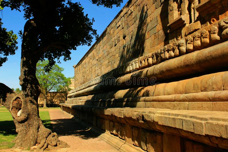 Beautiful stone wall of the ancient Brihadisvara Temple in the gangaikonda cholapuram, india. Ancient temple Gangaikonda Cholapuram-UNESCO World Heritage centre royalty free stock photo