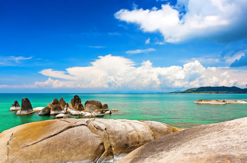Beautiful stones on Lamai beach, Koh Samui, Thailand royalty free stock photography