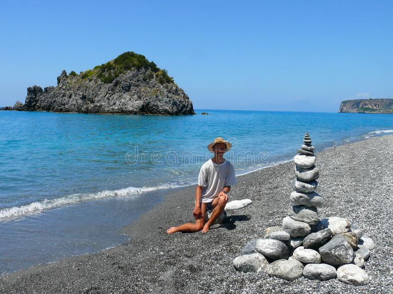 Land-art on Calabrian beach royalty free stock photos