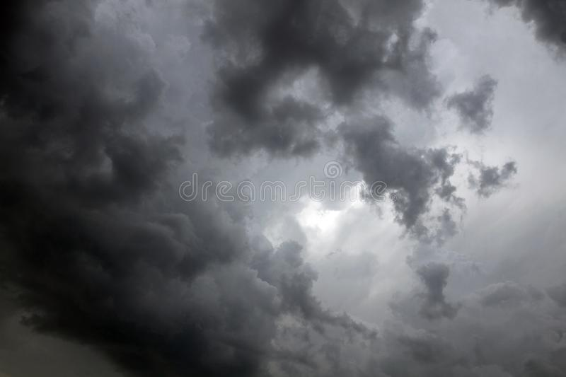 Beautiful storm sky with clouds. Apocalypse, tunder, tornado. Black clouds is coming down royalty free stock images