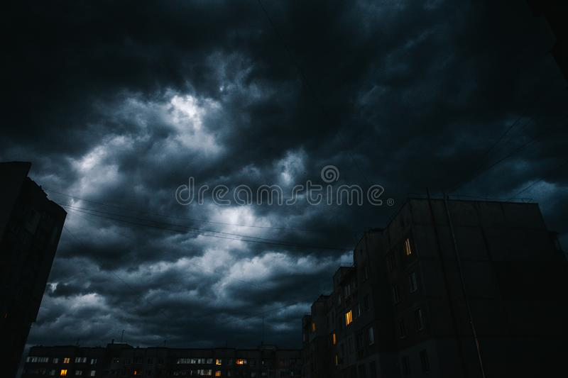 Beautiful storm sky with clouds over the city, apocalypse like royalty free stock image