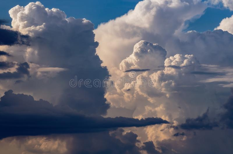 Beautiful stormy cumulus clouds in the sky, background.  royalty free stock images