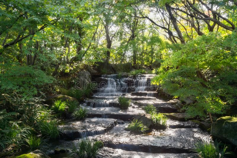Beautiful Stream in a Japanese Garden in Himeji, Japan. royalty free stock photography