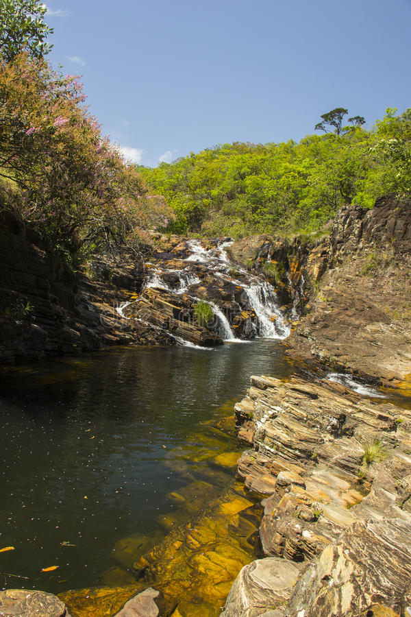 Beautiful stream in sunny day - Waterfall background. stock photography