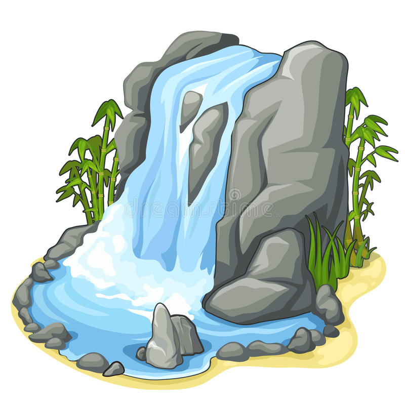 Beautiful stream of waterfall from cliff. Vector. Beautiful stream of waterfall from the cliff. Vector illustration in cartoon style for decoration for various vector illustration
