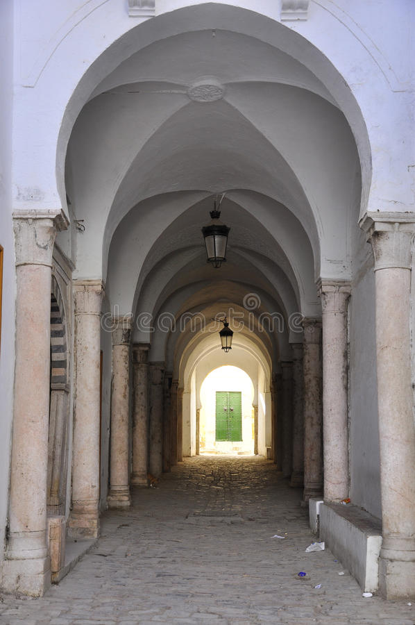 Beautiful street with arcades in Medina, Tunis
