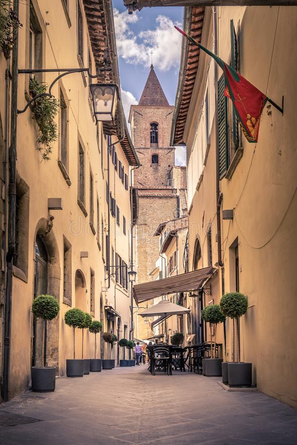 Download Beautiful Street Of Arezzo, Tuscany Editorial Stock Photo   Image  Of Decoration, Antique