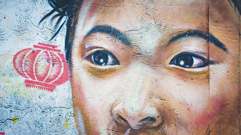 Street art chinese girl on the wall royalty free illustration