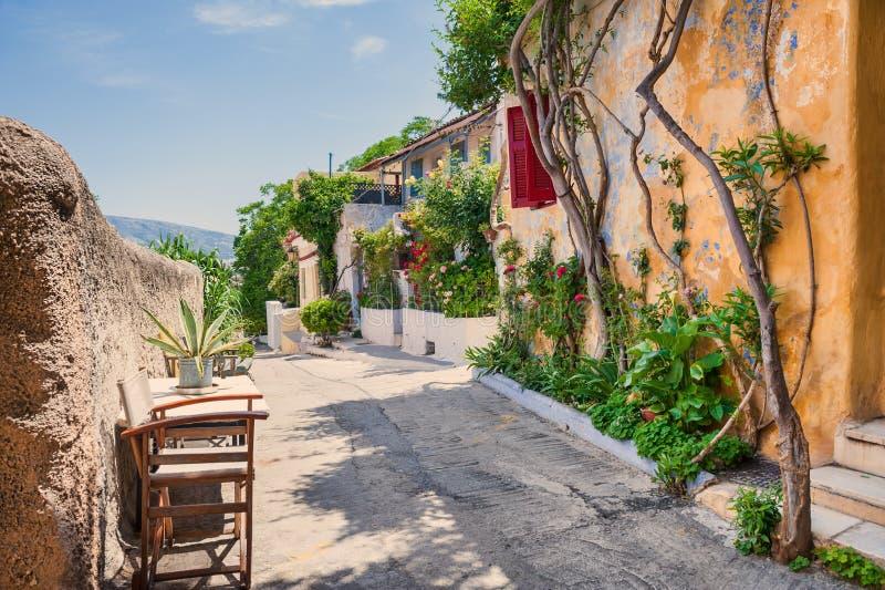 Beautiful street in Athens, Greece stock photos