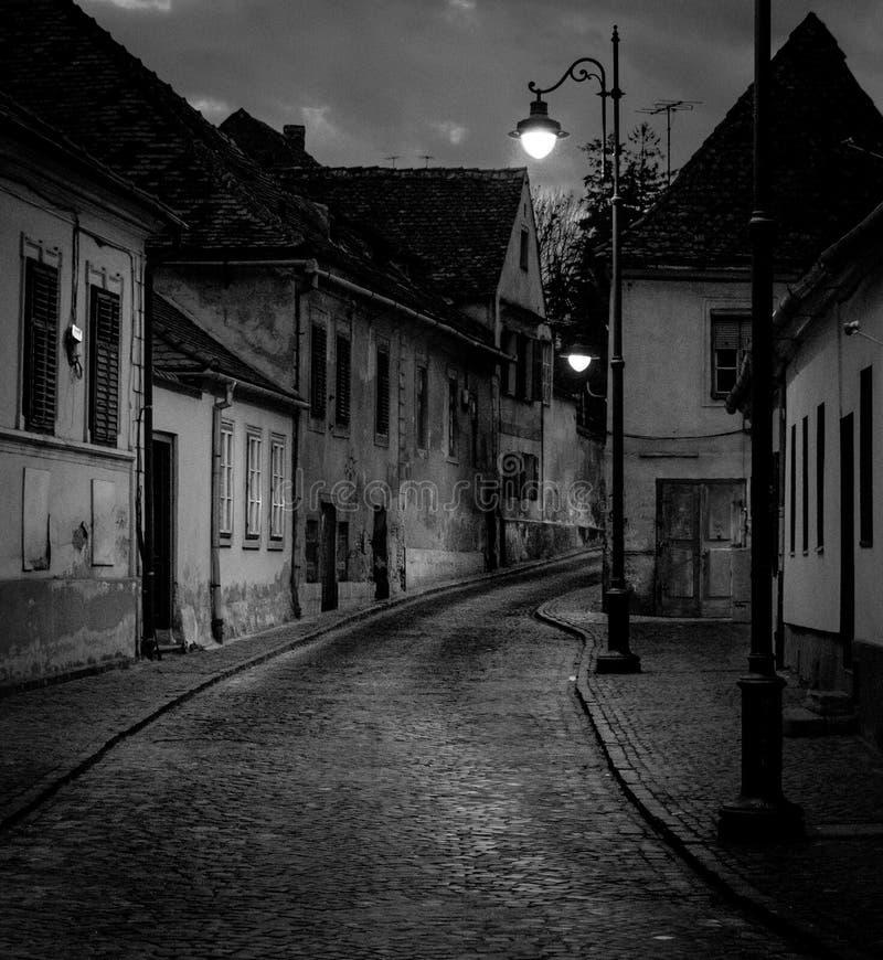 Beautiful street in downtown Sibiu at night stock photography