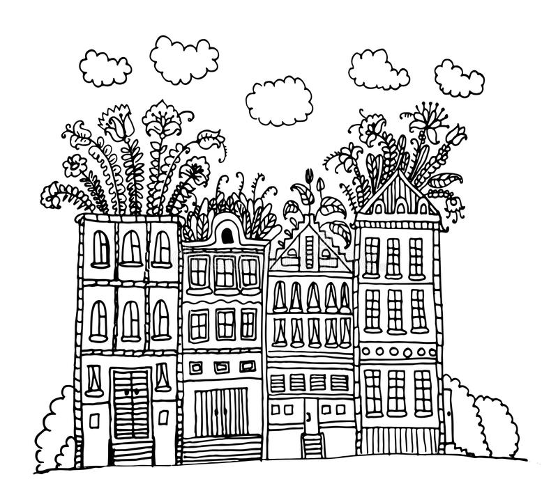 Beautiful street with houses with garden and flowers on the roof contour doodle illustration vector illustration