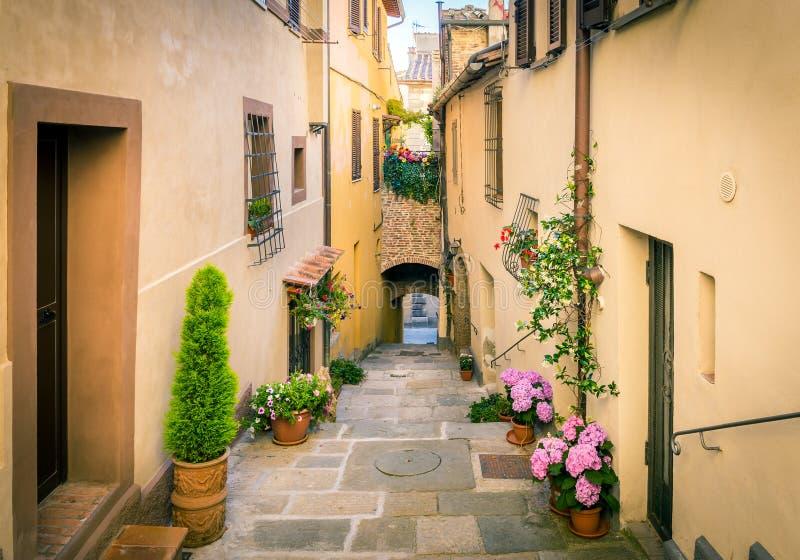 Beautiful street of Montepulciano, Tuscany. Beautiful street of captivating Montepulciano town in Tuscany, Italy royalty free stock image