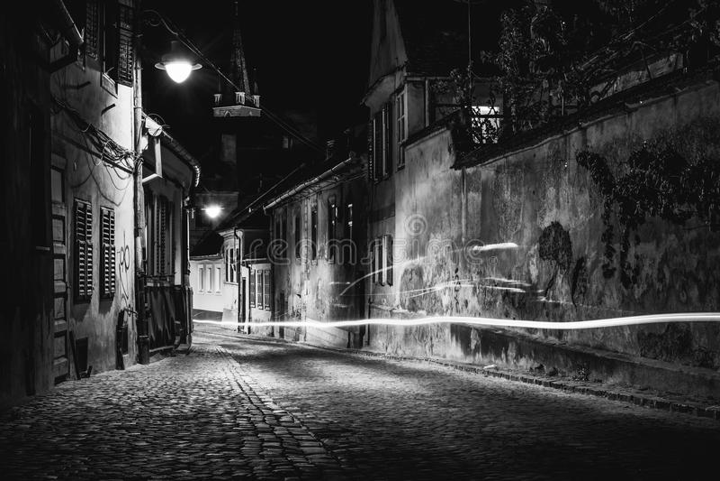 Beautiful street at night in Sibiu, Romania stock photo
