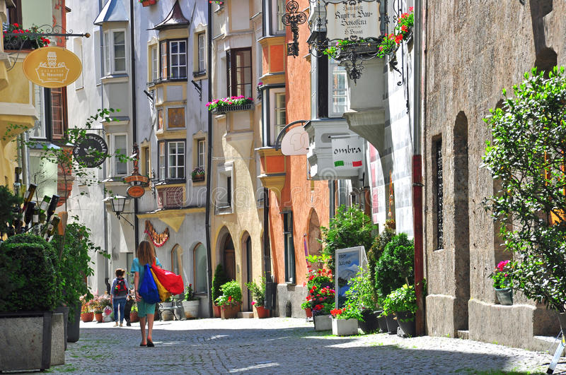 Beautiful Street In Tyrol Town Editorial Stock Photo