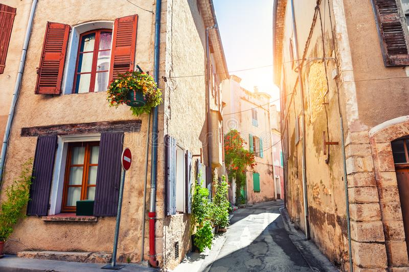 Beautiful street in Valensole, Provence, France. Beautiful street with old architecture in Valensole, Provence, France. Famous travel destination royalty free stock image