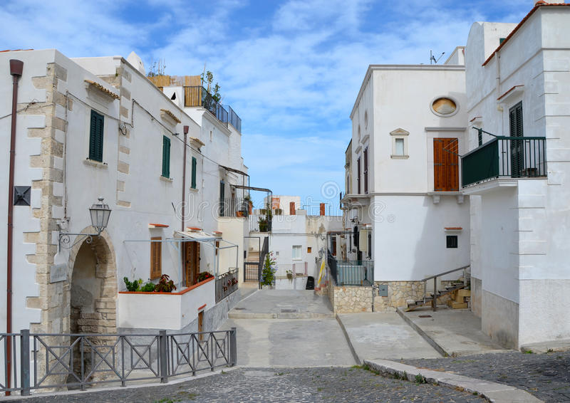 A beautiful street in Vieste stock photography