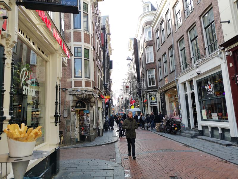 Beautiful street view of Amsterdam red zone in Holland, Netherlands stock photography