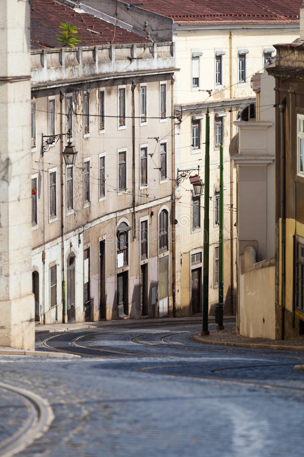 Beautiful street view of historic architectural in Lisbon. stock photo
