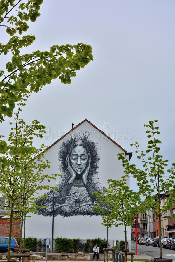 Beautiful streetart, woman figure on a house royalty free stock images