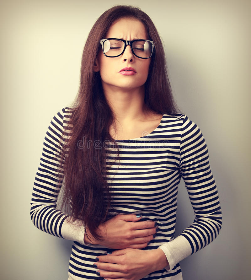 Free Beautiful Stressed Business Woman In Eyeglasses Suffering From P Royalty Free Stock Image - 62851976