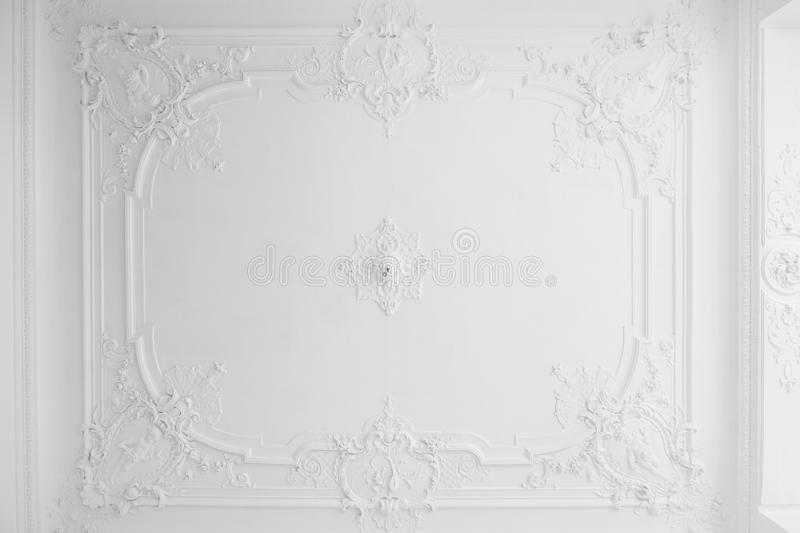 Beautiful stucco ceiling in old building royalty free stock images