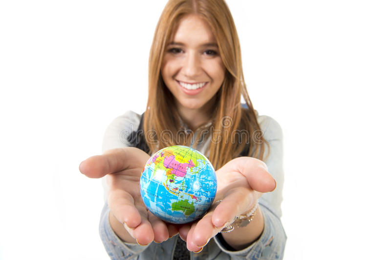 Download Beautiful Student Girl Holding Little World Globe In Her Hand Choosing Holidays Destination In Travel Tourism Concept Stock Photo - Image of face, international: 50838952