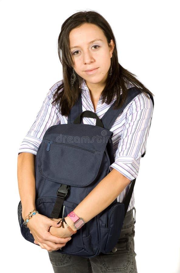 Download Beautiful Student Hugging A Bag Stock Image - Image: 1417719