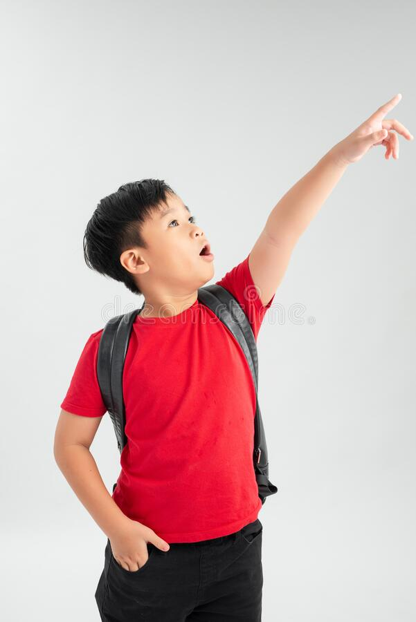 Beautiful student kid boy wearing backpack holding book over isolated white background very happy pointing with hand and finger to. The side royalty free stock photography