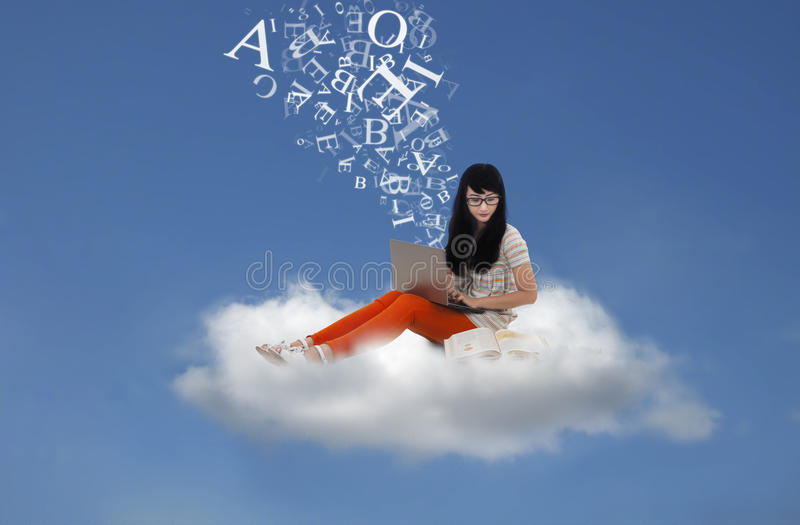 Download Beautiful Student Send Email Message Online On Cloud Stock Photo - Image: 31677248
