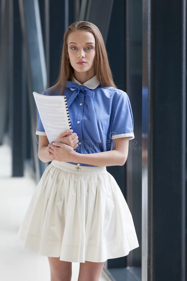 Beautiful student. With the summary book stock images