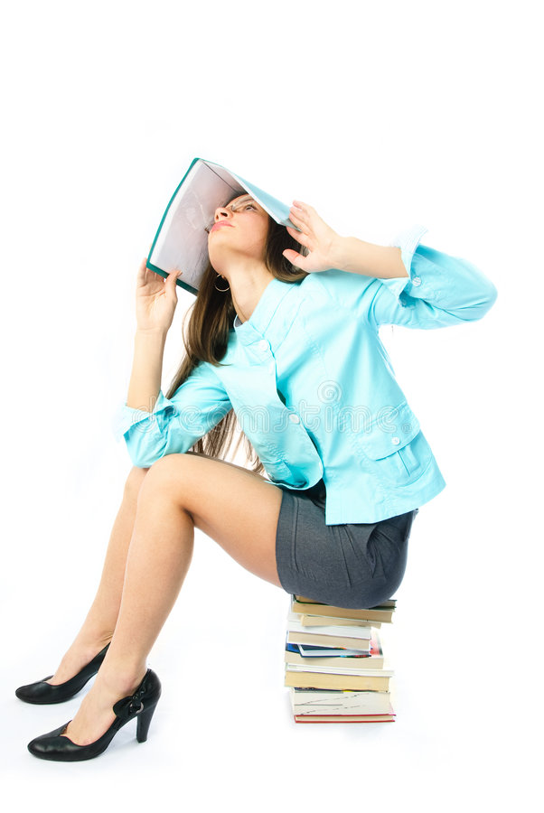 Beautiful student unwillign to do homework stock images