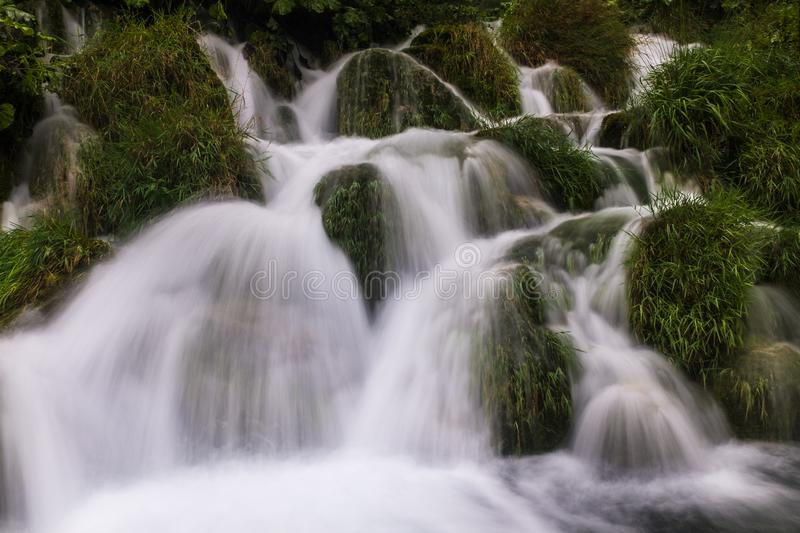 The beautiful and stunning Plitvice Lake National Park, Croatia, close up head on shot of a waterfall stock images