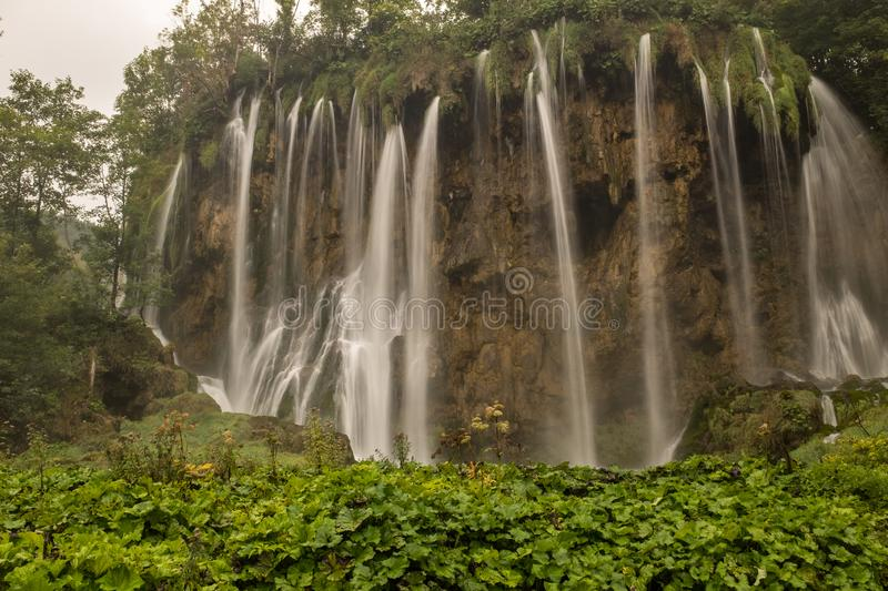 The beautiful and stunning Plitvice Lake National Park, Croatia, wide shot of a waterfall stock photos
