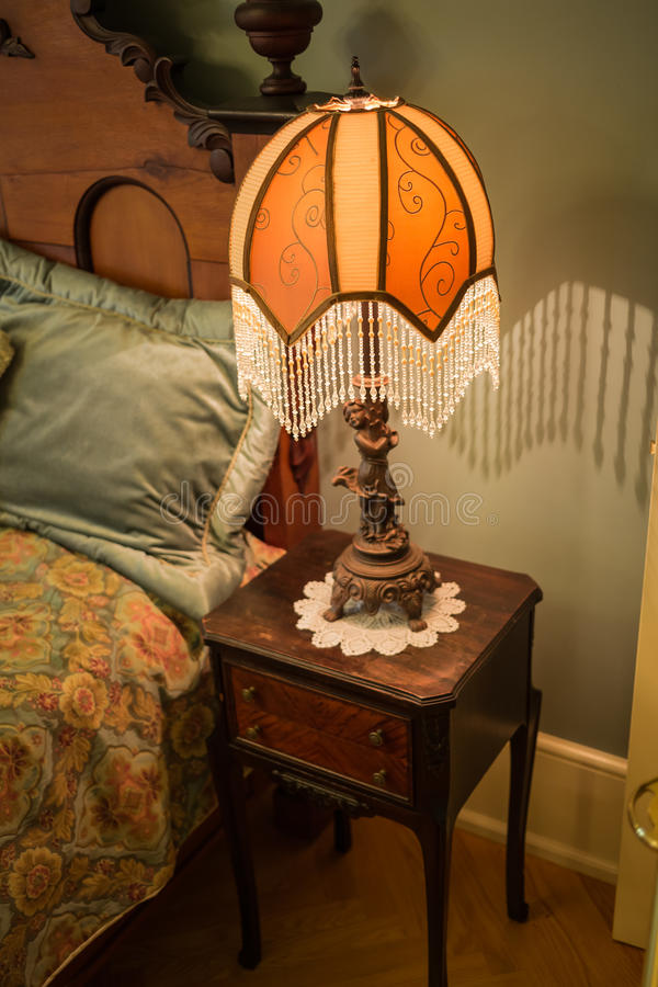 Download Beautiful Styled Retro Vintage Night Table Lamp Near The Bed Stock  Image   Image Of