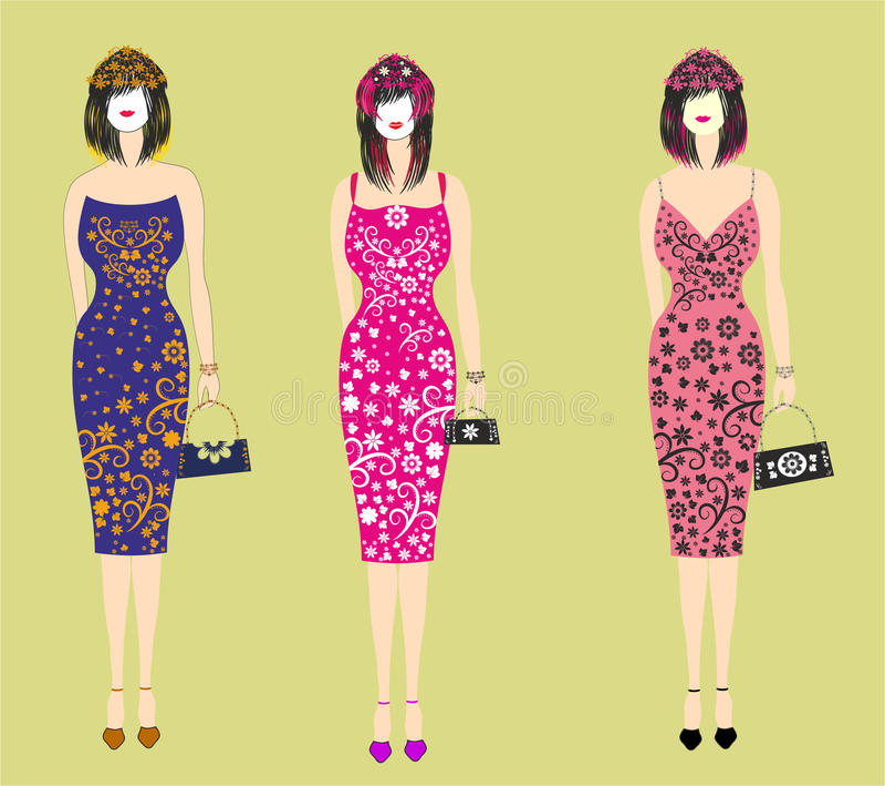 Beautiful stylish dresses for girls stock illustration