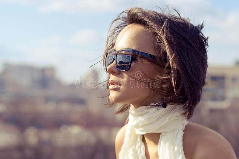 beautiful stylish fashion model girl wearing sunglasses stock image