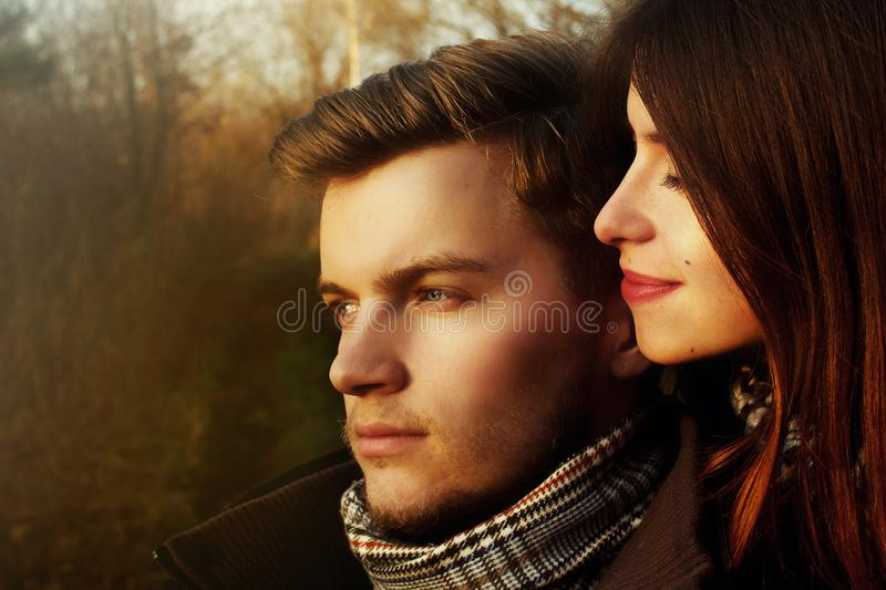 Beautiful stylish happy gorgeous couple in love looking with ten royalty free stock images