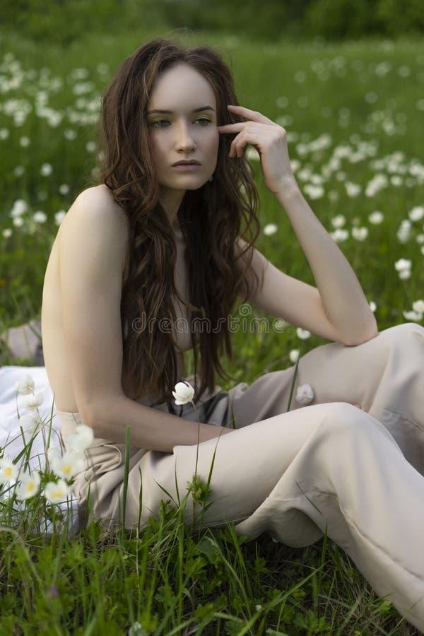 Beautiful stylish topless model girl wearing beige bloomers royalty free stock image