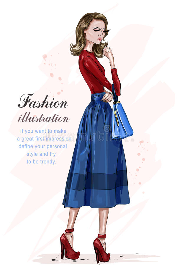 Beautiful stylish woman in fashion clothes. Fashion model posing. Hand drawn fashion girl. Sketch. stock illustration