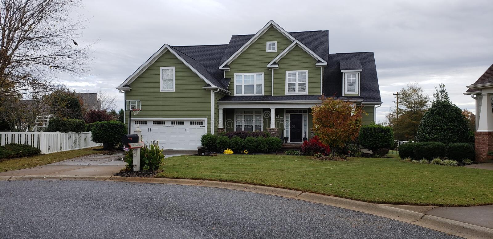 Home. Beautiful suburban home in neighborhood in South royalty free stock photography
