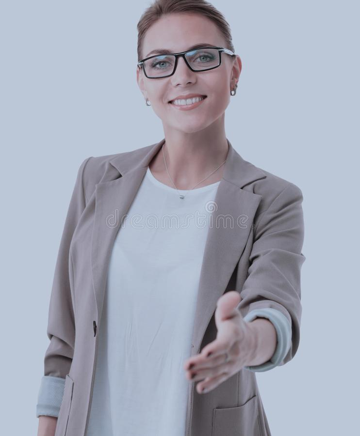Beautiful modern business woman invites to cooperation. Beautiful successful business woman invites to cooperation on white stock photography