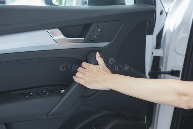 Beautiful successful girl sitting in the car stock photos
